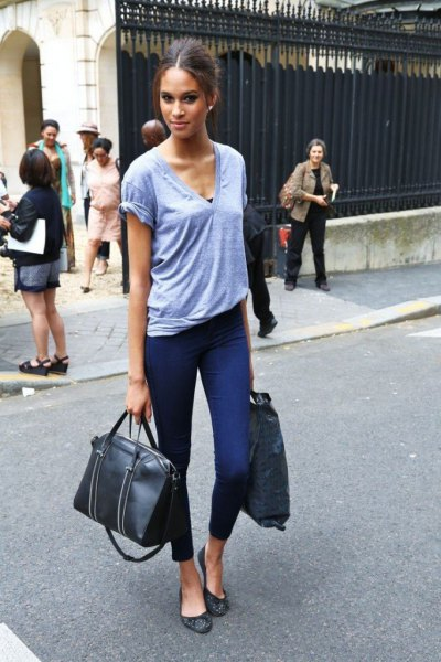 sky blue v neck tee with cropped tall jeans