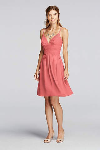 spaghetti strap deep v neck gathered waist mini flared cocktail dress