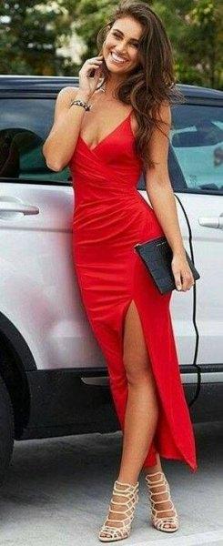 spaghetti strap deep v neck maxi slit dress