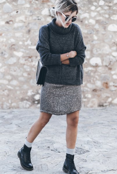 turtleneck sweater with light heather grey mini knit skirt