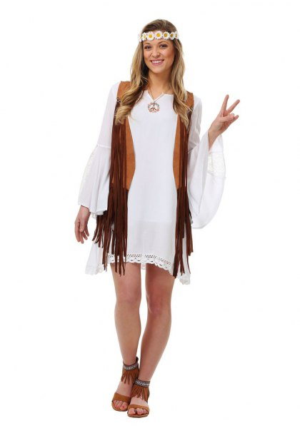 white bell sleeve mini shift dress with black hippie vest