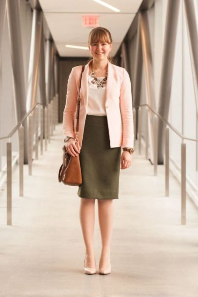 white blazer with olive green pencil skirt