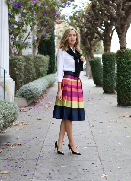 white button up shirt with color block midi skirt