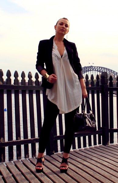 white chiffon semi sheer long shirt with blazer and leggings
