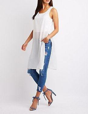white chiffon semi sheer long tank top with ripped jeans