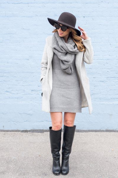 white cocoon coat with grey sweater mini dress and knit scarf