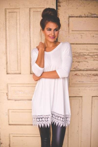 white crochet lace hem tunic long top with black leather leggings