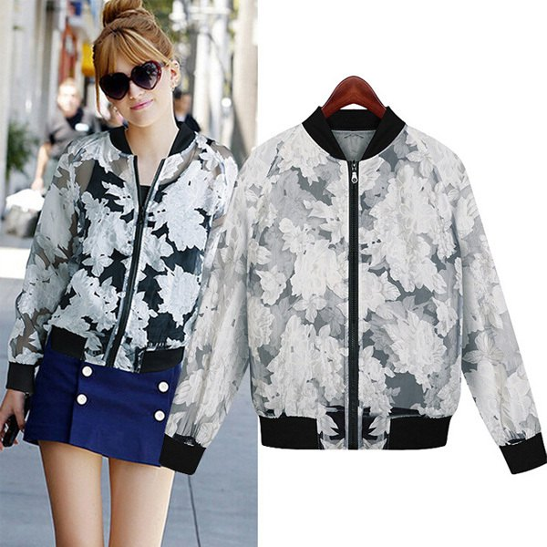 white floral embroidered semi sheer casual sport coat with blue denim skirt