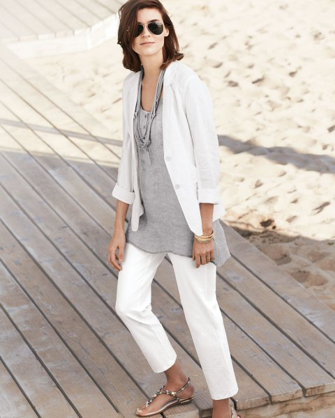 white linen blazer with grey relaxed fit cotton tunic top