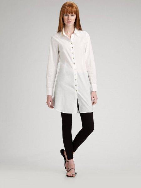 white long sleeve tunic shirt with black leggings and flip flops
