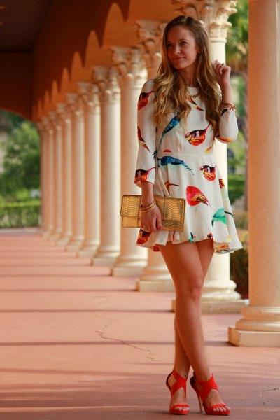 white mini ruffle dress with open toe strappy heels