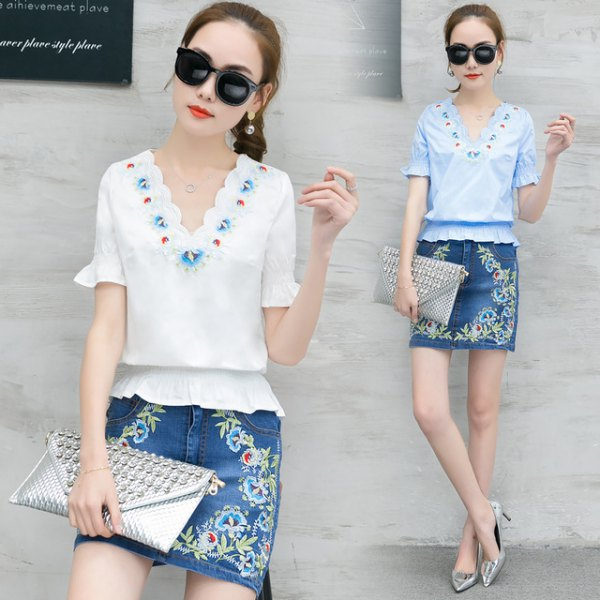 white scalloped neckline gathered waist top with floral embroidered denim skirt