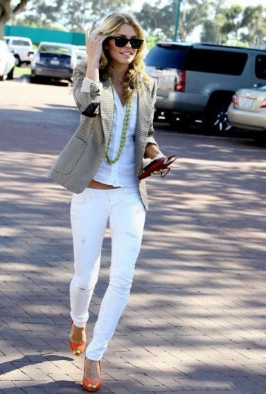 white shirt with matching slim cut jeans and orange open toe shoes