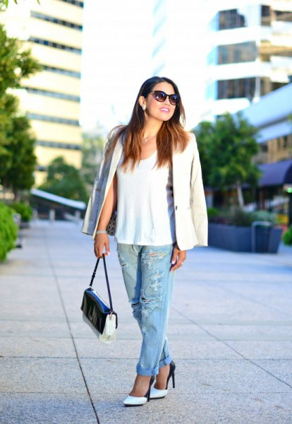 white tank top with blazer and ripped boyfriend jeans
