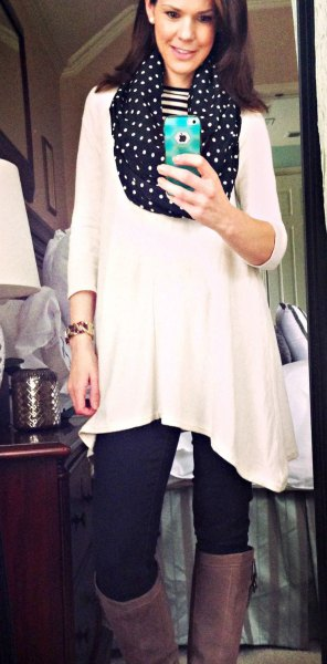 white three quarter sleeve tunic top with black polka dot infinity scarf