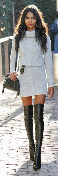 white two piece turtleneck mini bodycon dress with leather long boots