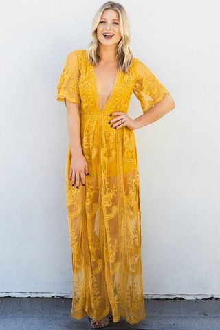yellow short sleeve deep v neck printed long dress