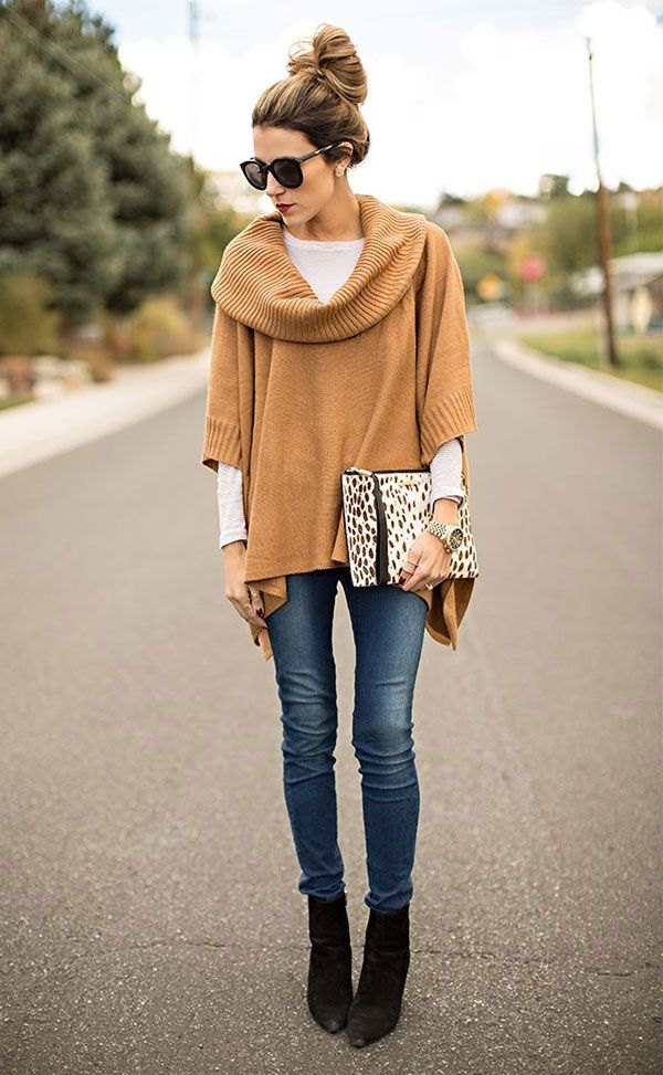 best poncho sweater with sleeves outfit ideas