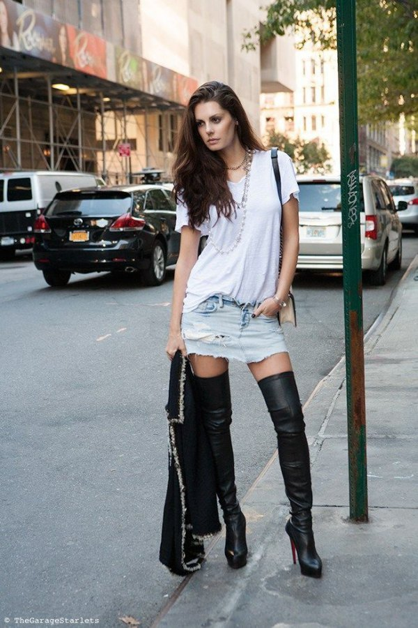 heeled boots and dress