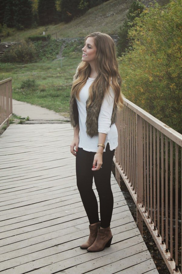 How To Wear Brown Faux Fur Vest Top 13 Chic Outfit Ideas