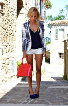 black and white striped summer blazer with deep v neck vest top