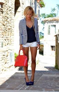 black and white striped summer blazer with deep v neck vest top