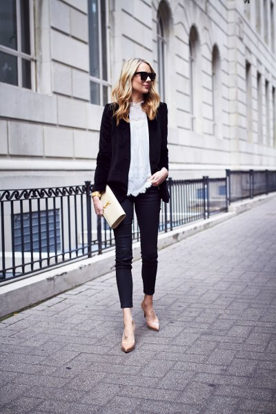black blazer with white lace blouse and skinny velvet jeans
