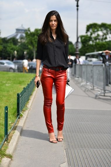 black button up shirt with red skinny leather pants