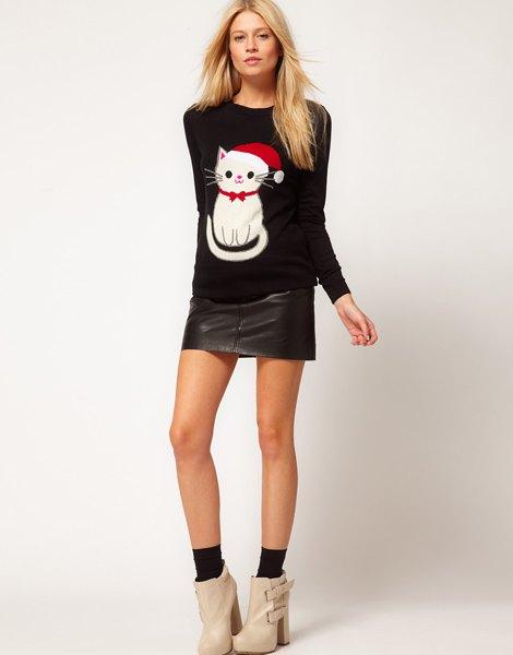 black cartoon cat printed sweater with mini leather skirt