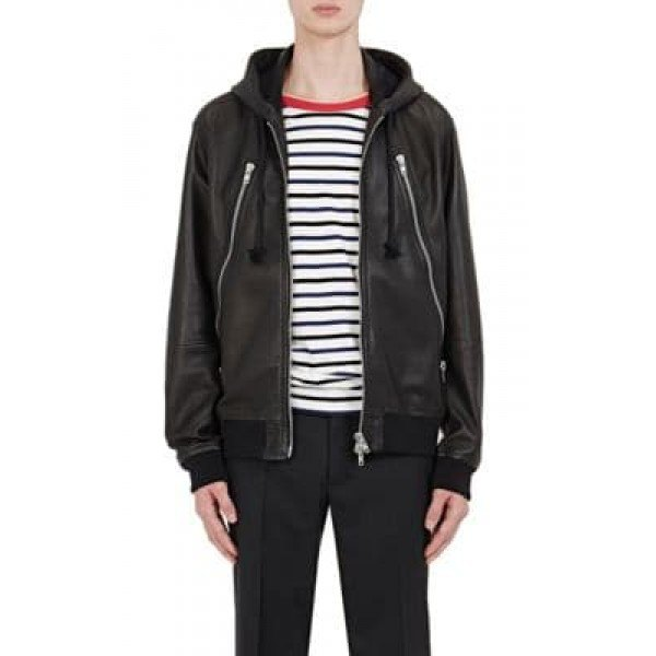 black faux fur hooded casual leather jacket with striped tee