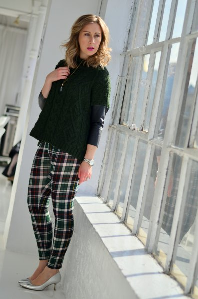 black leather jacket with plaid sweater leggings and silver heels