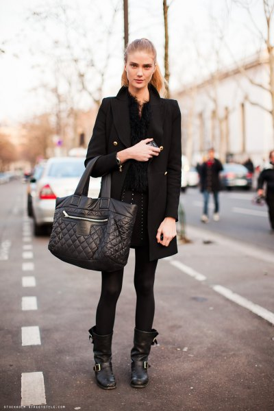 black long wool coat with leather moto boots
