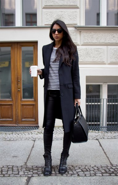 black long wool coat with striped tee and skinny jeans