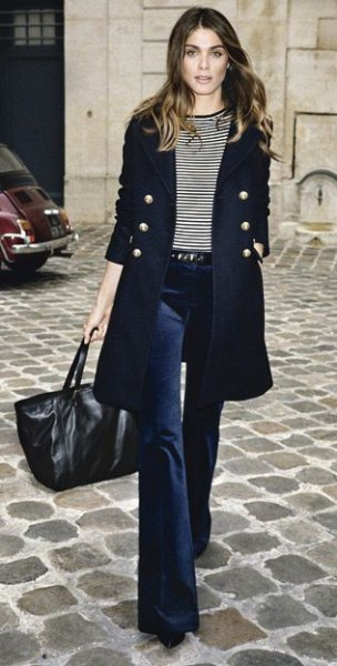 black longline double breasted longline blazer with navy blue flared velvet jeans