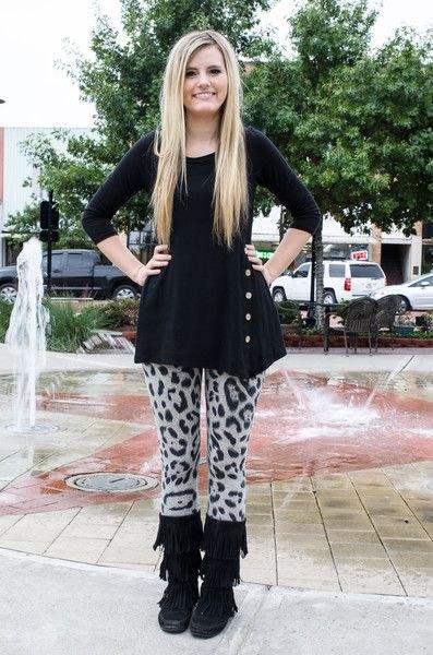 black peplum top with grey leopard print sweater leggings