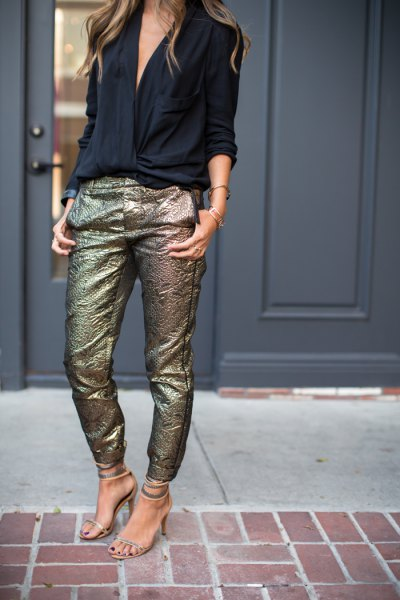 black v neck blouse with sequin gold slim fit pants