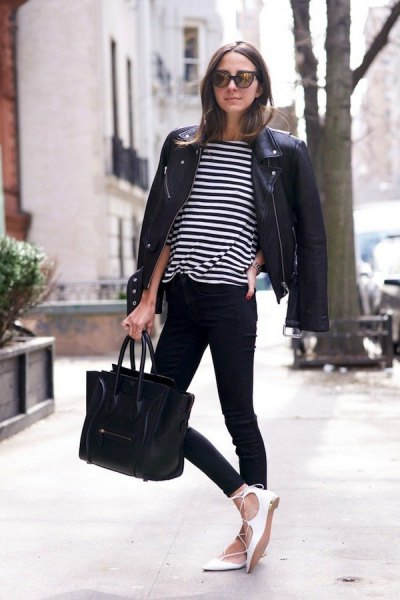 black white striped t shirt with moto jacket and strappy ballet flats
