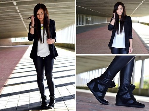 blazer jacket with white chiffon tee and black leather platform sneakers