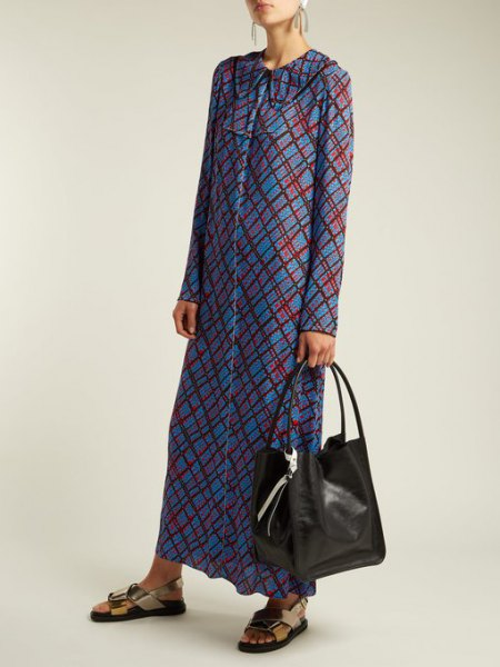 blue and grey plaid button up maxi dress with black soft leather purse
