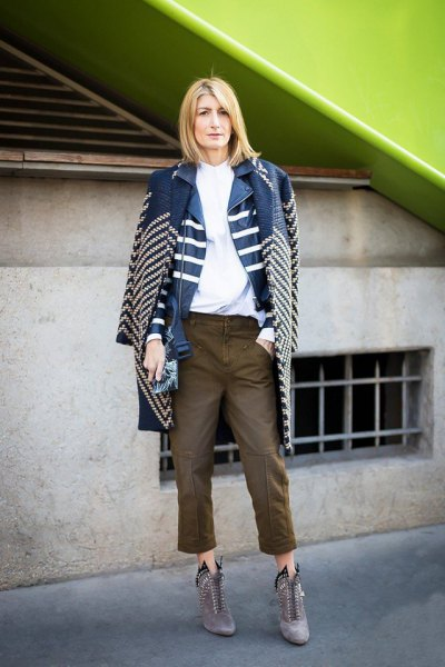 blue and white striped denim longline jacket with cropped biker jeans