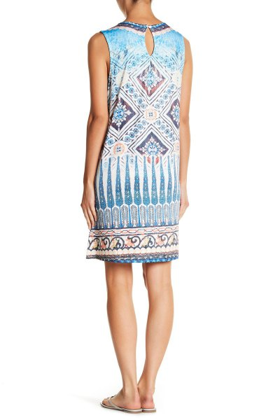 blue and white tribal printed sleeveless tunic dress with slide sandals