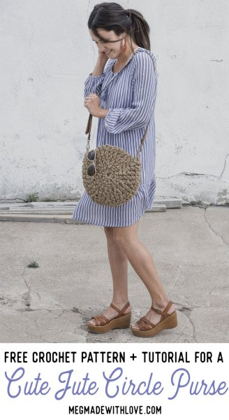 blue and white vertical striped mini shift dress with cute straw circular purse