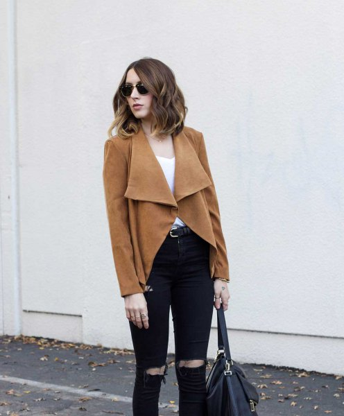 brown blazer coat with black ripped slim fit jeans
