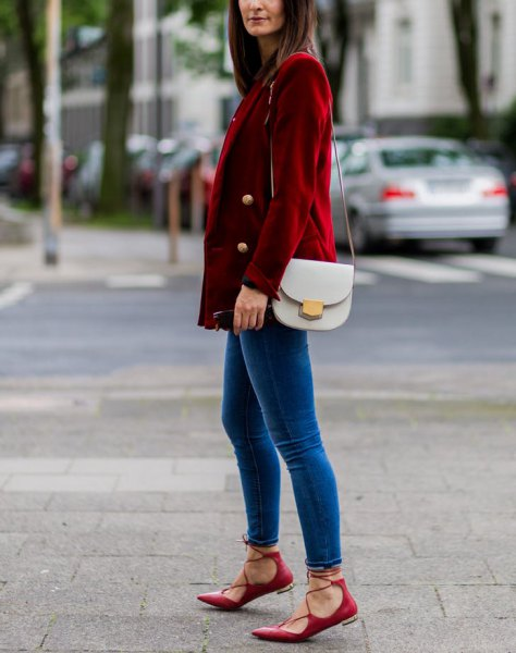 brown corduroy double breasted blazer with blue velvet skinny jeans