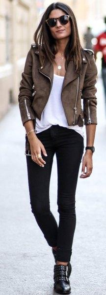 dark brown suede biker fitted jacket with white scoop neck tank top