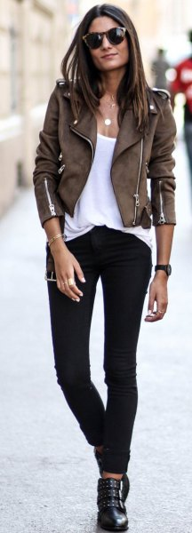 dark brown suede biker fitted jacket with white scoop neck tank top