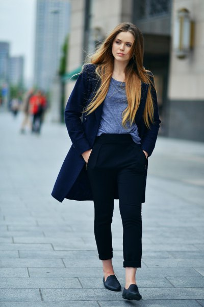 77b5459398b Dark Navy Blue Wool Longline Coat with Cuffed Black Jeans   Penny Suede  Loafers