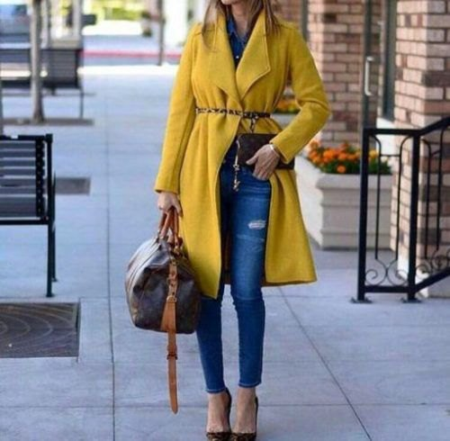fleece belted longline yellow coat with blue ankle skinny jeans