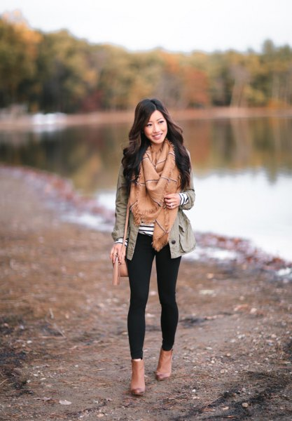 grey blazer with crepe fringe scarf and camel leather open toe fall boots