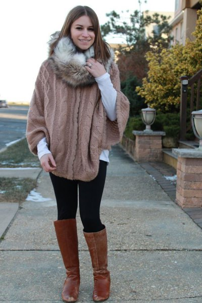 grey cable knit cape sweater with faux fur infinity scarf